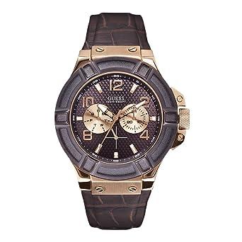 6f1b4f1d15c5 Guess - W0040G3 - Rigor - Montre Homme - Quartz Analogique - Cadran Marron  - Bracelet