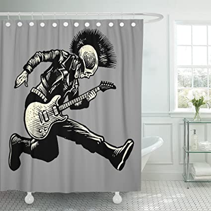 Amazon TOMPOP Shower Curtain Rock Skull Punk Guitarist Music