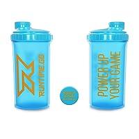 Runtime Eiweiß-Shaker   Sport-Flasche für Nutrition und Fitness   700ml Fassungsvermögen   mit Sieb - 100% dicht   BPA-frei - inkl. Messskala - transparent (Neon Blue)
