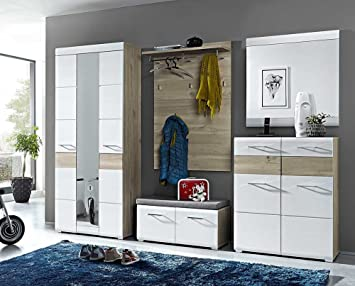 5 Tlg Garderoben Set In Silbereiche Nachbildung Mit Fronten In Weiss