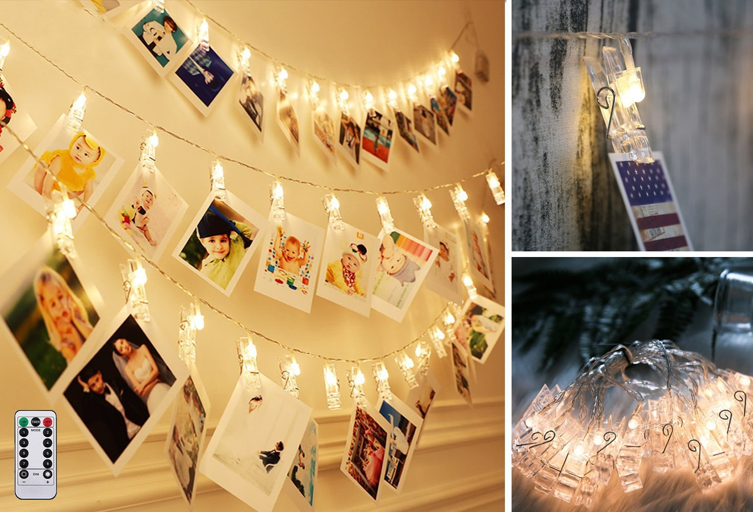 Photo Clips String Lights 40 LED Battery Operated Starry Fairy Lights For Valentine's Day Decoratio Hanging Photos Pictures Notes Artwork for Wedding Birthday Party Wall DIY Warm White(Remote control