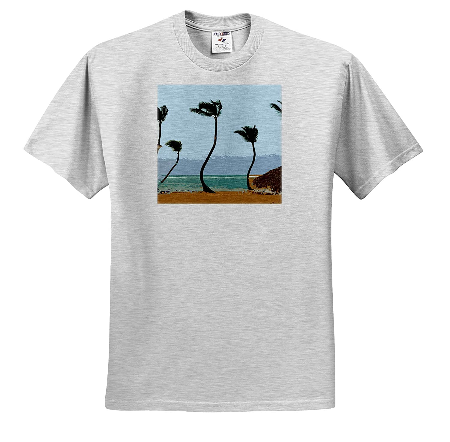 3dRose Lens Art by Florene Image of Swaying Palms in Abstract On The Beach T-Shirts Tree Art