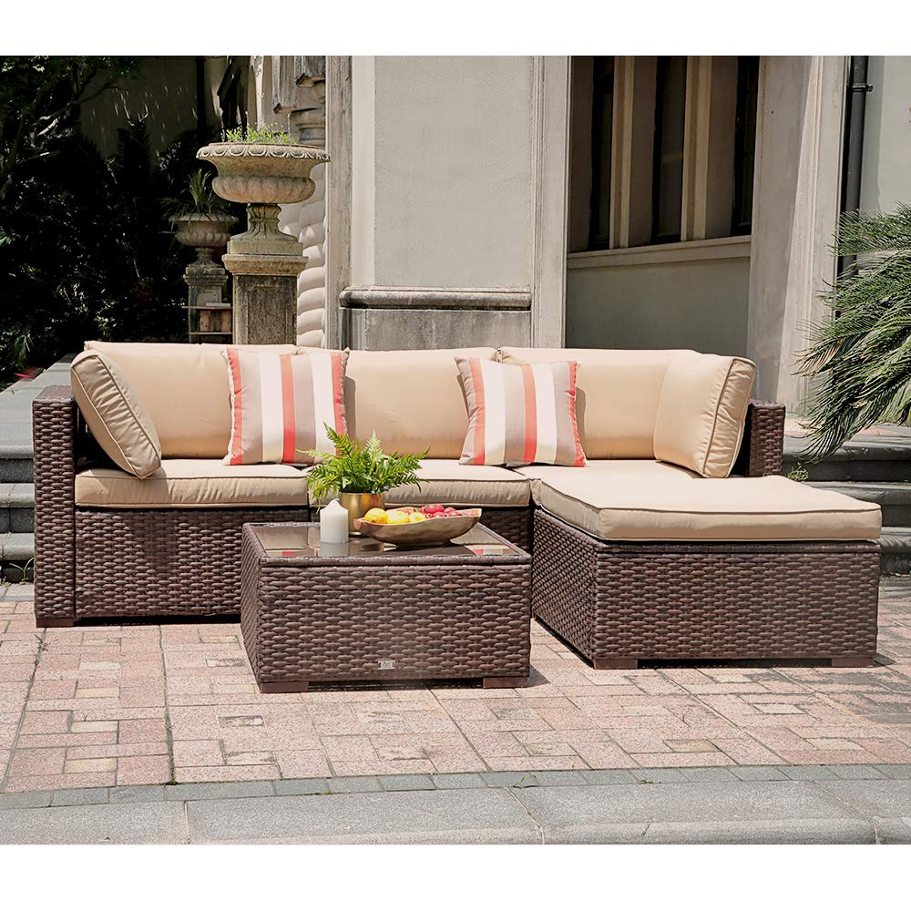 SUNSITT 5 Piece Patio Outdoor Furniture Set, All Weather Rattan Sectional Sofa with Ottoman Washable Cushions, Brown Wicker Beige Cushions