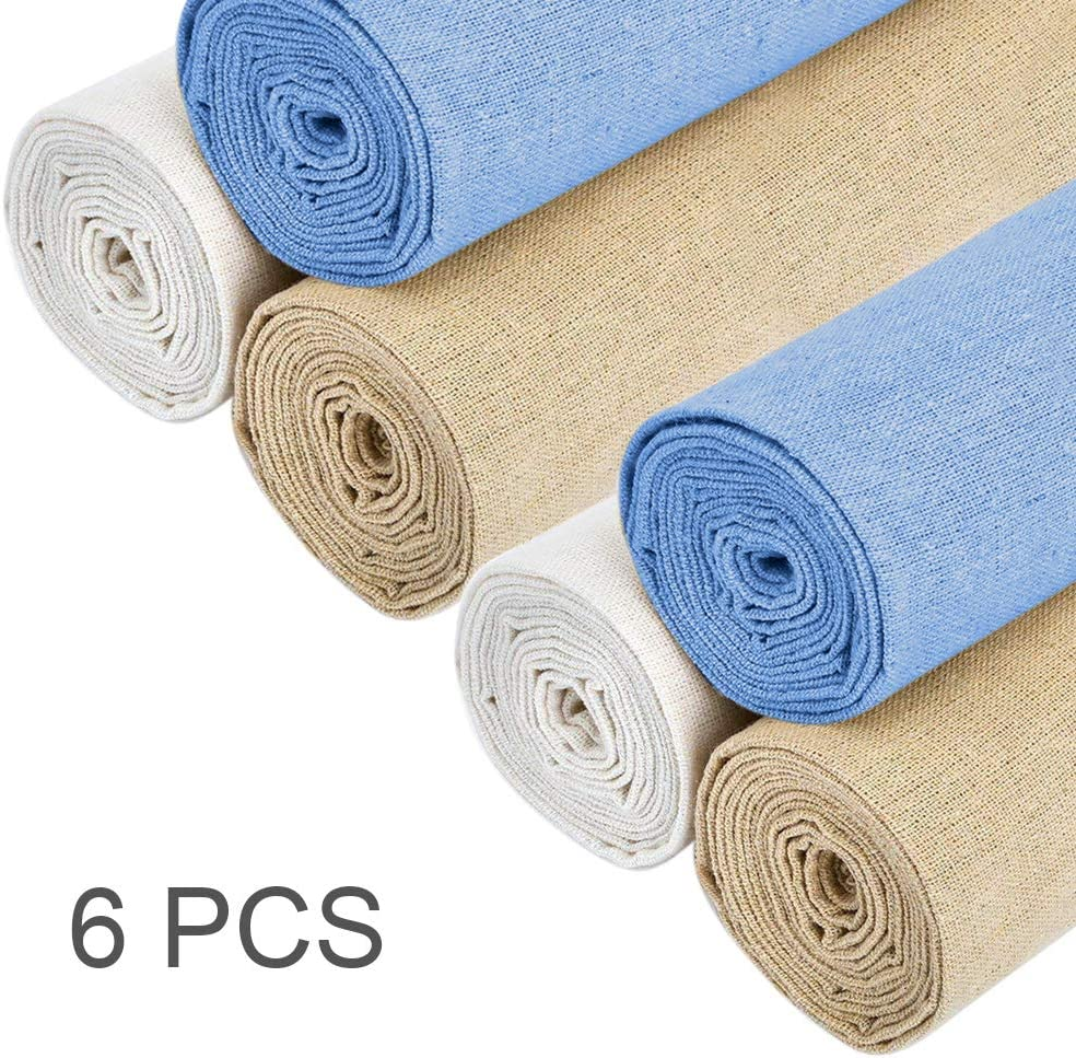 20 Inch Linen Fabric DIY Decoration C Needlework Fabric Needle Embroidery 4Pcs 4 Colors Natural Linen Fabric Solid Colored Embroidery Fabric Cross Stitch Aida Cloth for Making Garment Craft