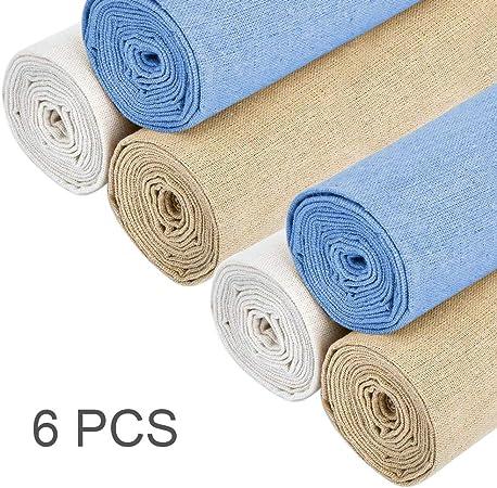 Ricamo Ricamo a Punto Croce 4 Pezzi di Tessuto di Lino Naturale 50 cm 4 Colori XCOZU Tessuto di Lino Naturale per Ricamo Tessuto di Lino per Realizzare Indumenti Decorazione e Tovaglia