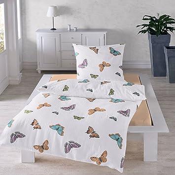 Traumschlaf Seersucker Bettwäsche Schmetterlinge 155x220 Cm 80x80