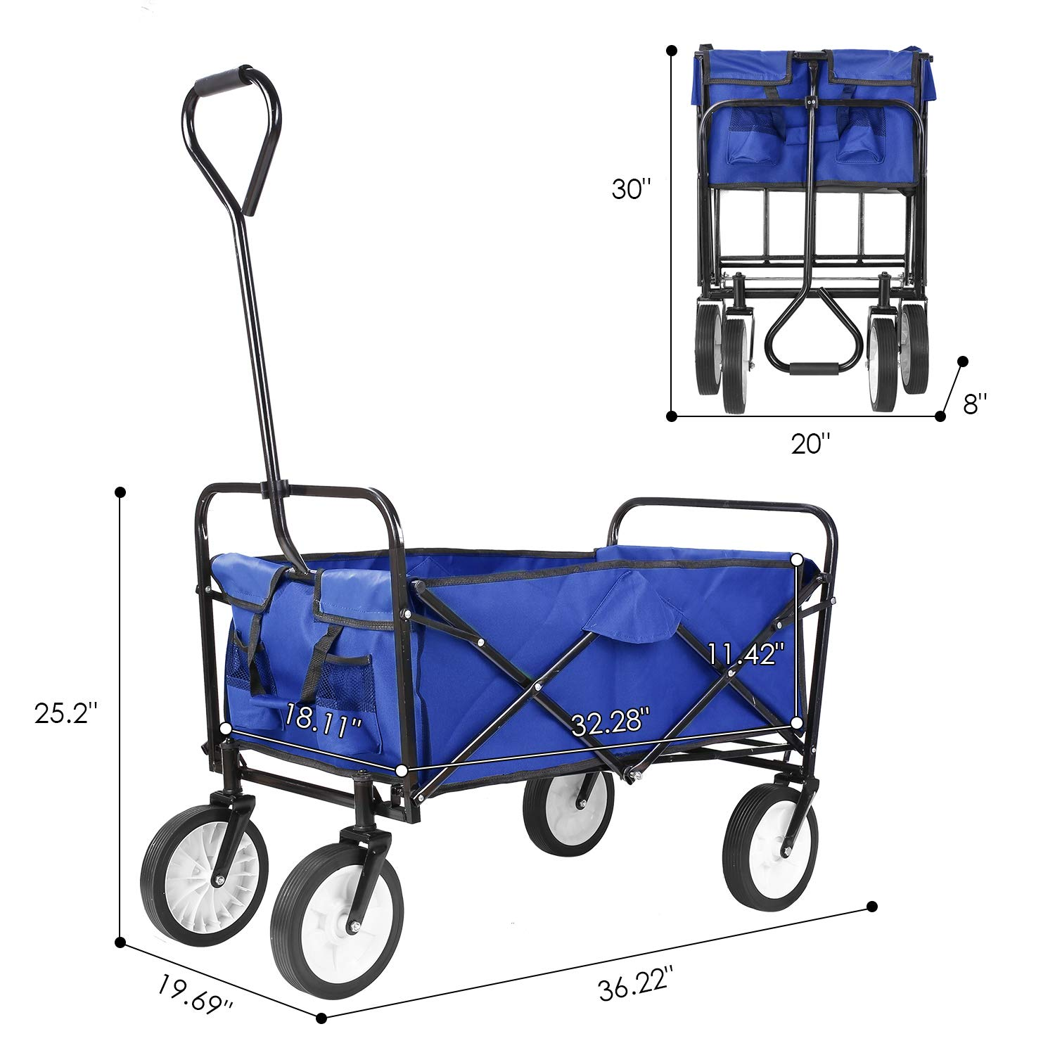 Collapsible Outdoor Utility Wagon, Heavy Duty Folding Garden Portable Hand Cart, with 8'' Rubber Wheels and Drink Holder, Suit for Shopping and Park Picnic, Beach Trip and Camping (Blue) by HEMBOR (Image #3)