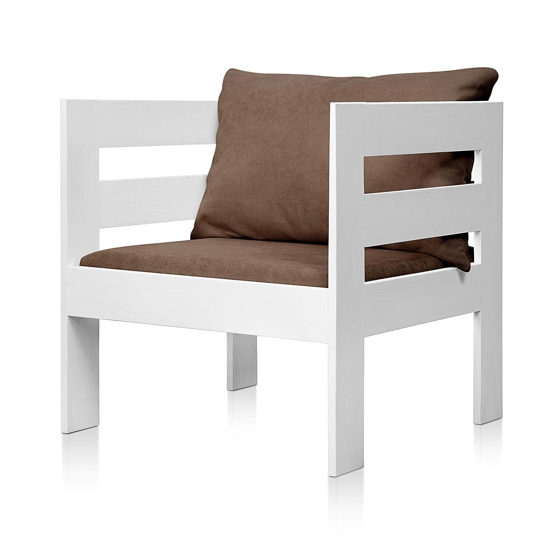 SUENOSZZZ - Sofa Jardin de Madera de Pino Color Blanco, MEDITERRANEO Mod. sillón, Sillon cojín Tela Color Gris. Muebles Jardin Exterior. Silla para ...