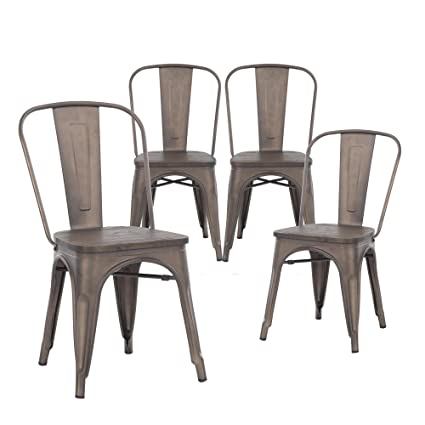 Buschman Set Of Four Bronze Wooden Seat Tolix Style Metal Indoor/Outdoor  Stackable Chairs