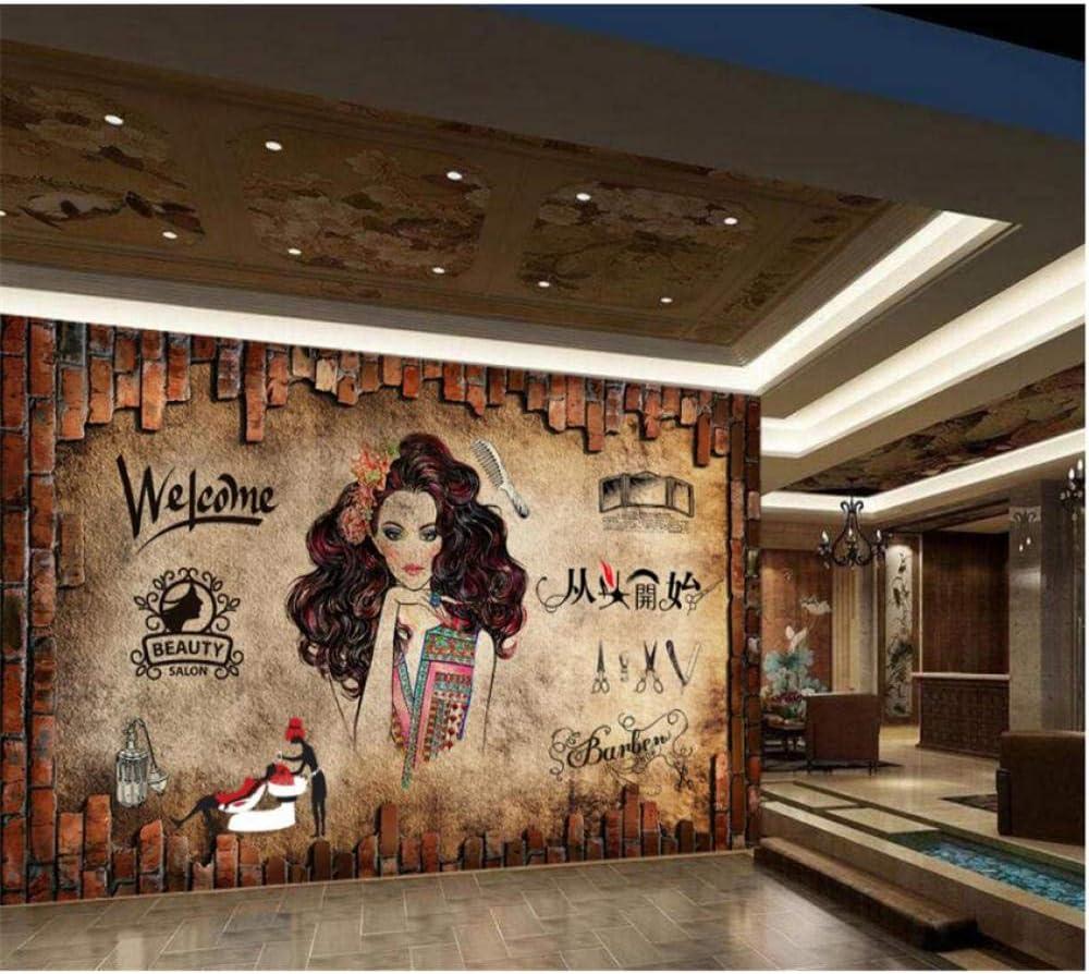 Amazon Com Pbldb Custom 3d Wallpaper Murals Nostalgia Vintage Make Up Beauty Salon Hair Salon Background Barbershop Wall Paper 400x280cm Furniture Decor
