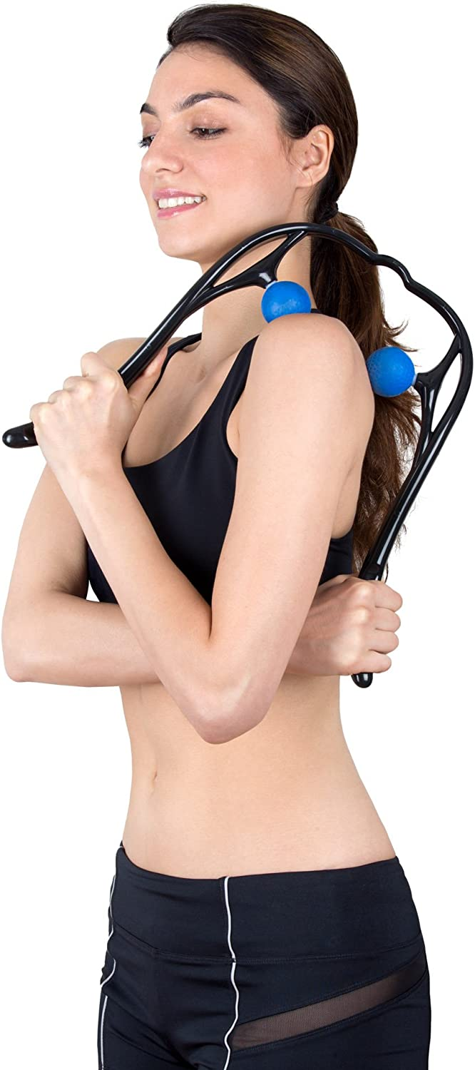 Neck Massager, LuxFit Neck and Shoulder Shiatsu Deep Tissue Trigger Point Manual Self Muscle Massage: Health & Personal Care