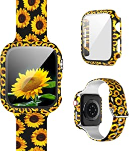 [1+1] Pack Compatible for Apple Watch Band with Case for Apple Watch 38mm Series 3/2/1, Floral Printed Pattern Replacement Strap + Protective Case with Screen Protector for iWatch Accessories
