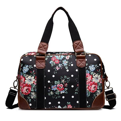 Bolsa de viaje de fin de semana para mujer, diseño de flores y lunares