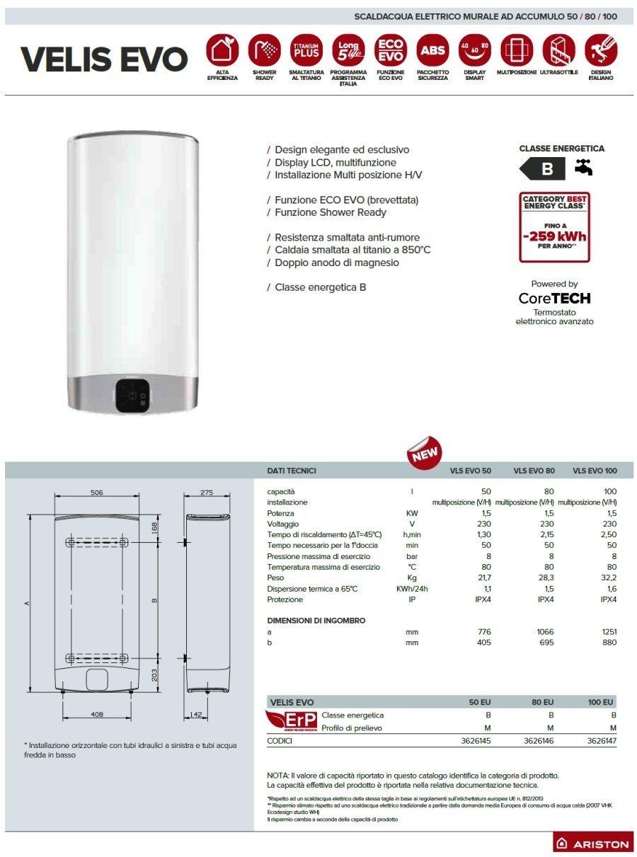 Vertical/Horizontal 80 Litros Calentador Agua Electrico VELIS EVO EU Ariston: Amazon.es: Bricolaje y herramientas