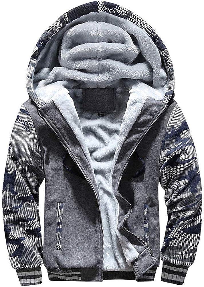 Yesmile Abrigo de Invierno para Hombre Suéter con Cremallera con Capucha Chaqueta de algodón Ropa de Abrigo Caliente de Manga Larga Abrigo Suelto Talla Extra