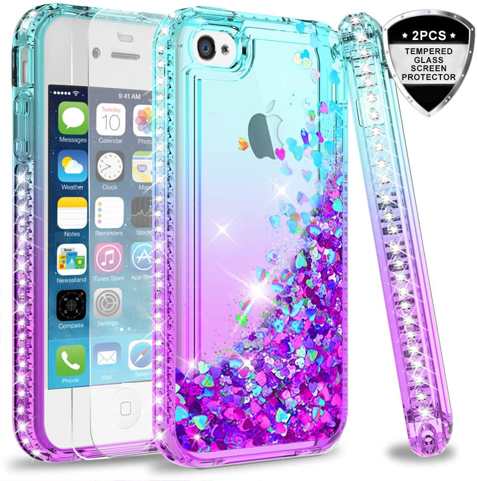 LeYi iPhone 4S Case with Tempered Glass Screen Protector [2 Pack] for Girls Women, Cute Shiny Glitter Moving Quicksand Clear TPU Protective Phone Case Cover for Apple iPhone 4/ 4S/ 4G ZX Teal/Purple