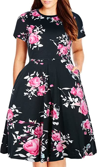 Women's Round Neck Summer Casual Plus Size Midi Dress