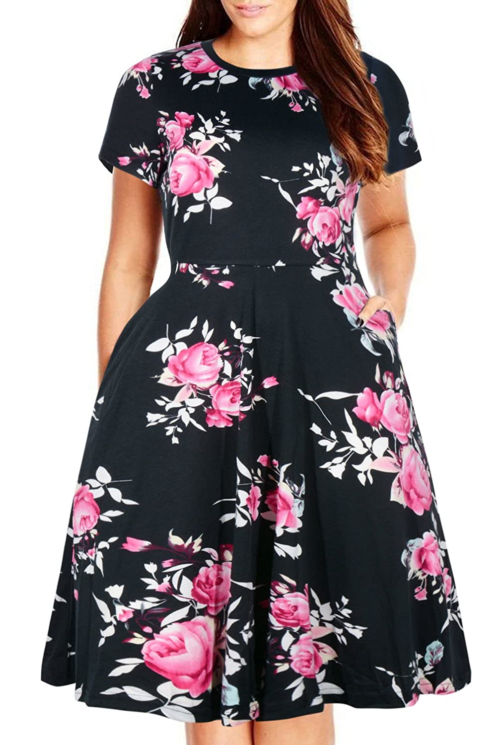 691c6148c Amazon.com: Nemidor Women's Round Neck Summer Casual Plus Size Fit and  Flare Midi Dress with Pocket: Clothing