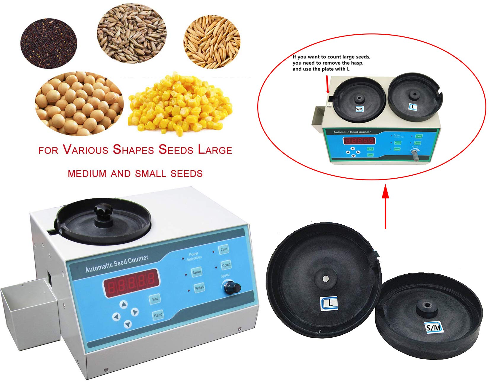 VTSYIQI Automatic Seeds Counter Machine Automatic Counting Instrument Sly-C with Adjustable Speed for Various Shapes Seeds Large Medium and Small Seeds LED Display
