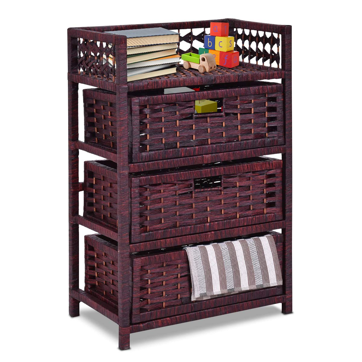 Giantex 3-Drawer Storage Organizer End Table Side Cabinet Nightstand for Bedroom, Office & Living Room Hand-Woven Paper Rope Storage Chest w/Solid Wood Frame 3 Removable Drawers, Reddish Brown
