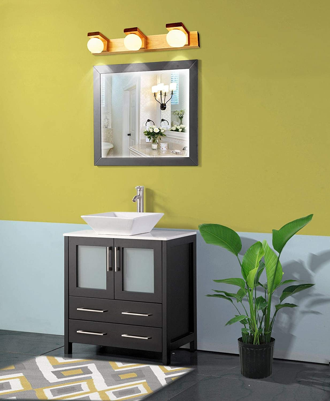 Amazon Com Vanity Art 30 Inch Single Sink Bathroom Vanity Set 1 Shelf 2 Drawers Quartz Top And Ceramic Vessel Sink Bathroom Cabinet With Free Mirror Va3130 E Kitchen Dining