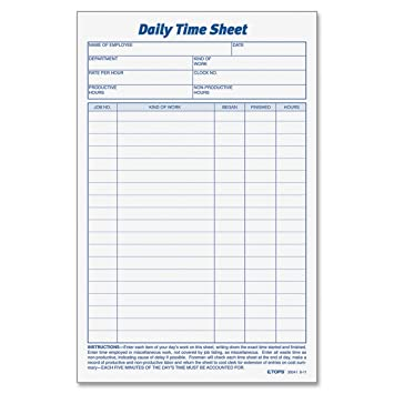Amazon.com : TOPS Daily Employee Time And Job Sheet, 6 x 9.5 ...