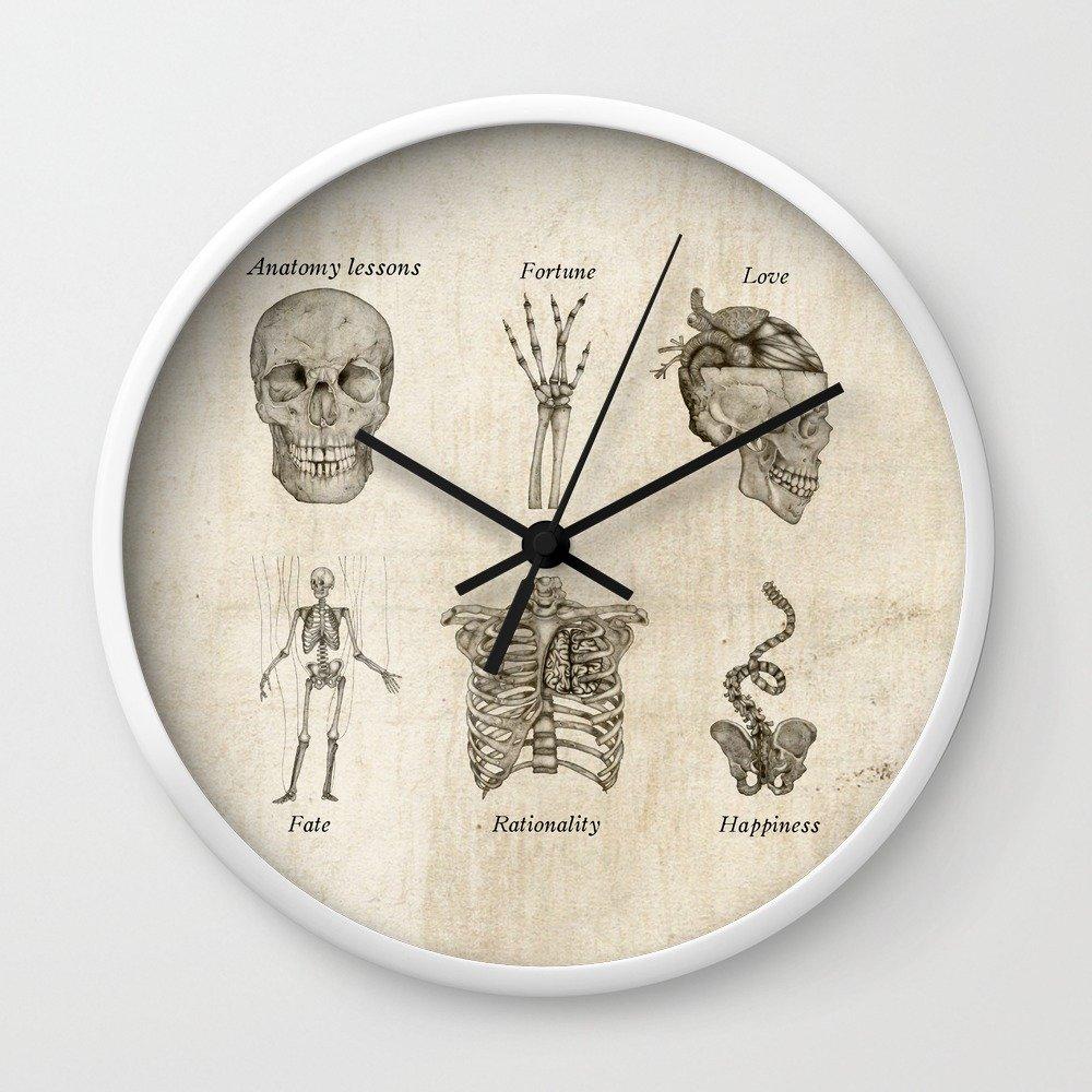 Amazon Society6 Anatomy Lessons Wall Clock White Frame Black