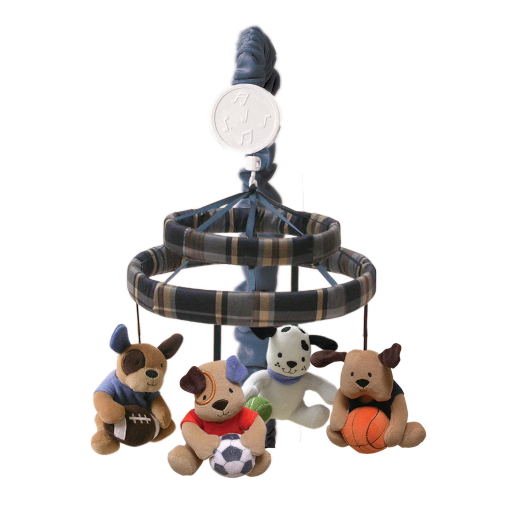 Lambs & Ivy Bow Wow Buddies Musical Crib Mobile - Puppy Dog Sports