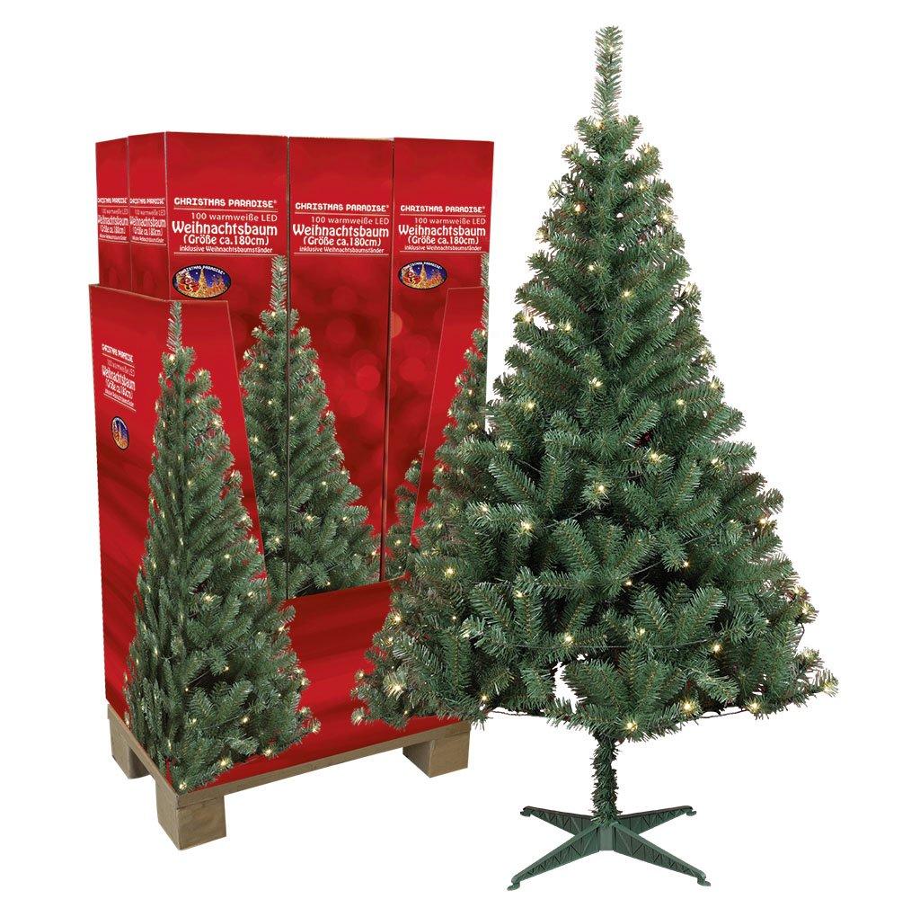 Künstlicher Weihnachtsbaum mit Beleuchtung 180 cm hoch Tannenbaum Tannenbaum Tannenbaum künstlich Christbaum mit Ständer e014aa
