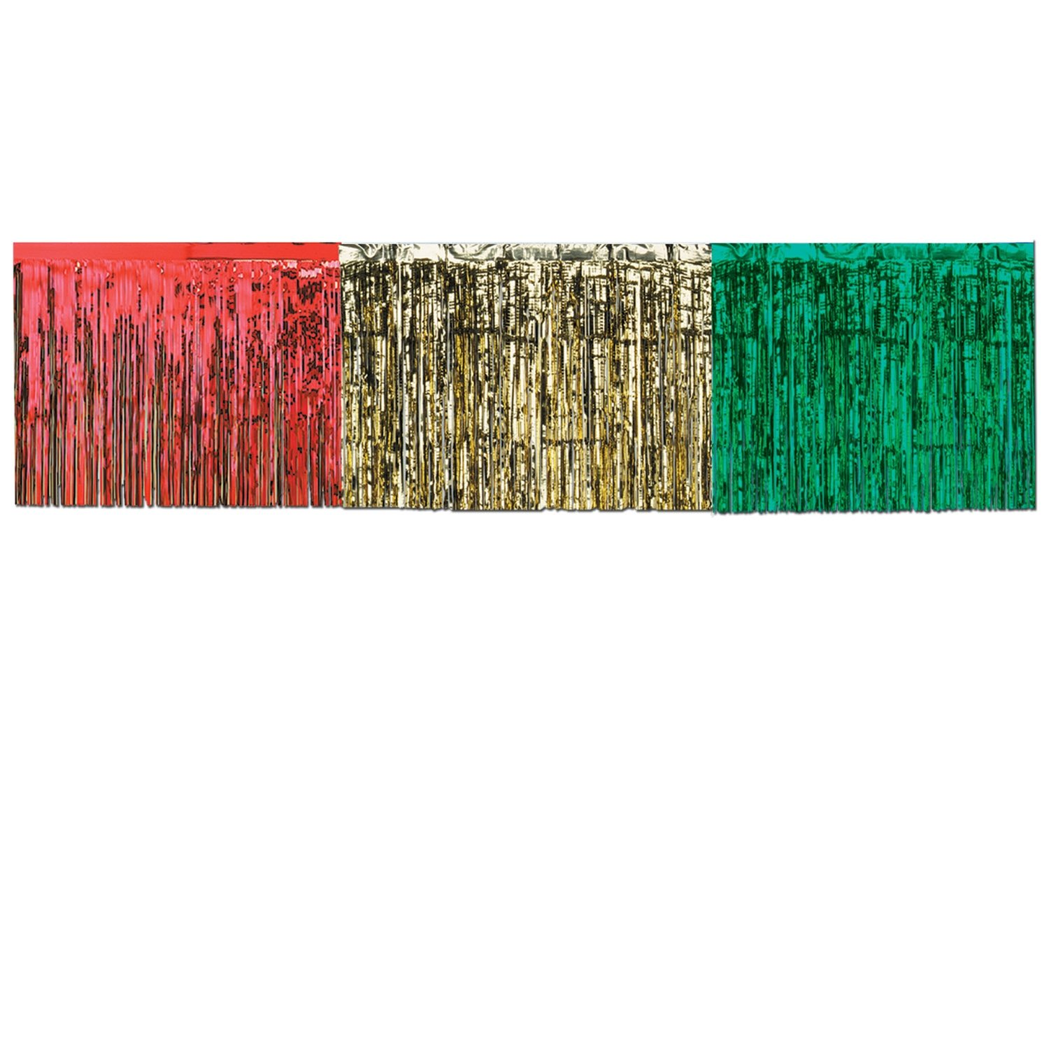 Pkgd 1-Ply FR Metallic Table Skirting (red, gold, green) Party Accessory  (1 count) (1/Pkg)