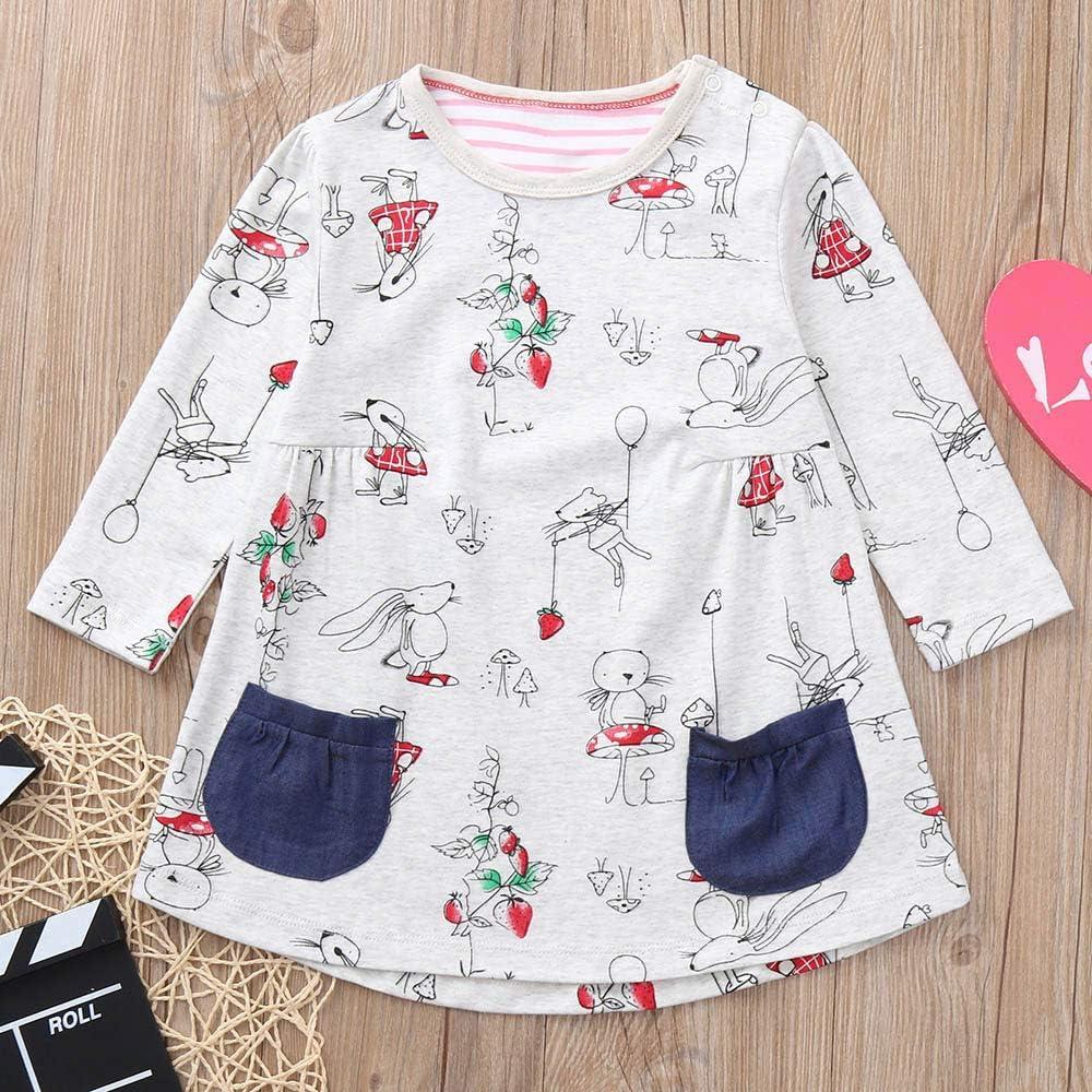 Winter Baby Dress,Fineser Lovely Children Toddler Kids Baby Girls Long Sleeve Cartoon Mouse Print Pockets Dress Clothing