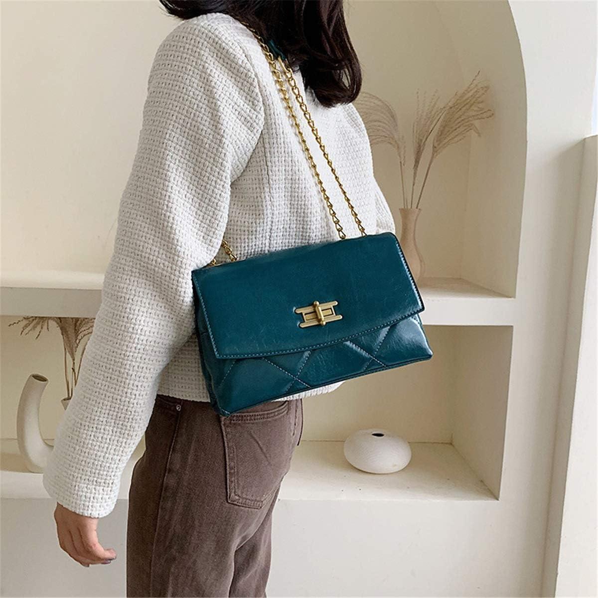 Shoulder Bags Net Sac Rouge Rhombus chaîne Rétro Sac Solide Simple épaule Couleur Sac Mode Niche Classique Messenger Bag (Color : Wine Red) Blue