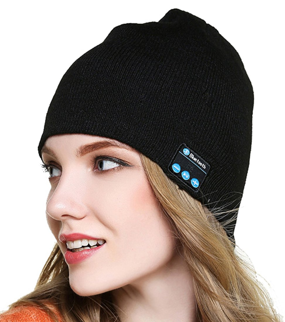Calion Unisex Bluetooth Beanie Winter Knit Hat Wireless Stereo Music Headphone Headset with Speakers Mic Hand Free Hats Cap Unique Christmas Gifts for Women Young Boys Girls Men Women (#1 Black)