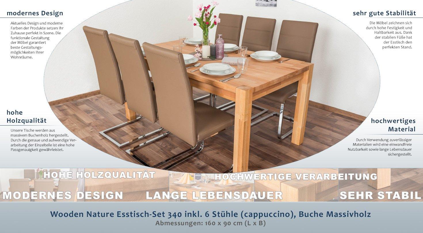 Wooden Nature Esstisch-Set 340 inkl. 6 Stühle (cappuccino), Buche ...