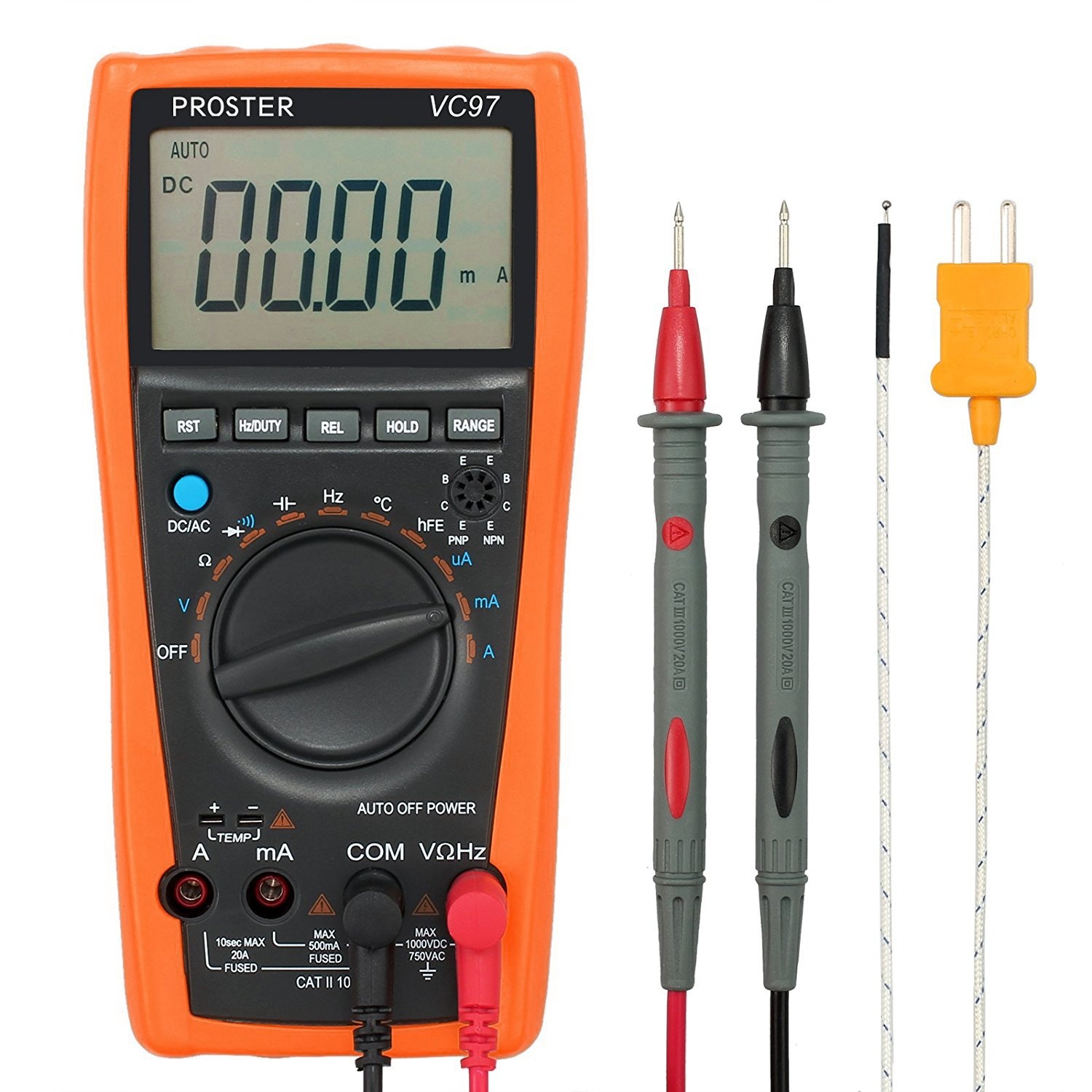 Proster Digital Multimeter 3999 LCD Auto Ranging Multi Meter with Capacitance Resistance DC AC Voltage Current Transistor Diode Continuity by Proster
