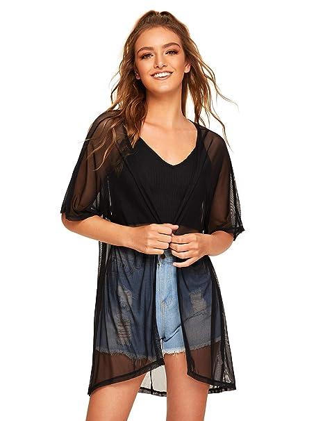 8b40c6bd56 SweatyRocks Women's Sheer Mesh Kimono See Through Beachwear Cover up Black  XS