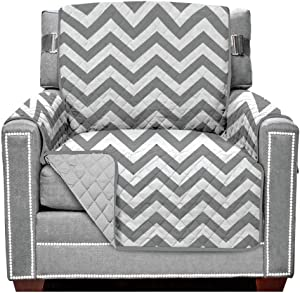 Sofa Shield Original Patent Pending Reversible Chair Protector, Many Colors, Width up to 23 Inch, Furniture Slipcover, 2 Inch Strap, Chairs Slip Cover Throw for Pet Dogs, Kids, Armchair, Chevron Gray