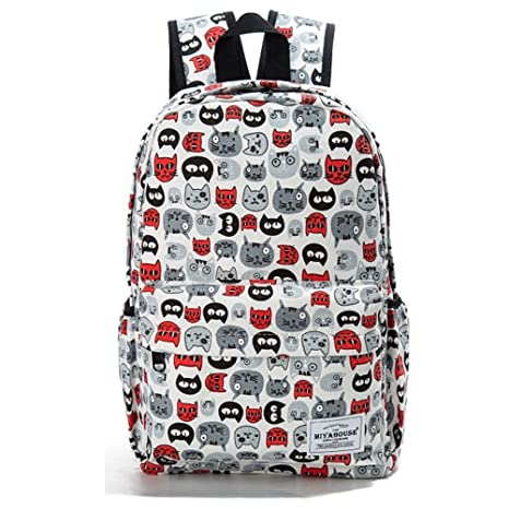 85452fd1db3c Image Unavailable. Image not available for. Color  Preppy Style Female  Backpacks Cartoon Cats Print Bookbags Women Travel Backpack Canvas School  Bag ...