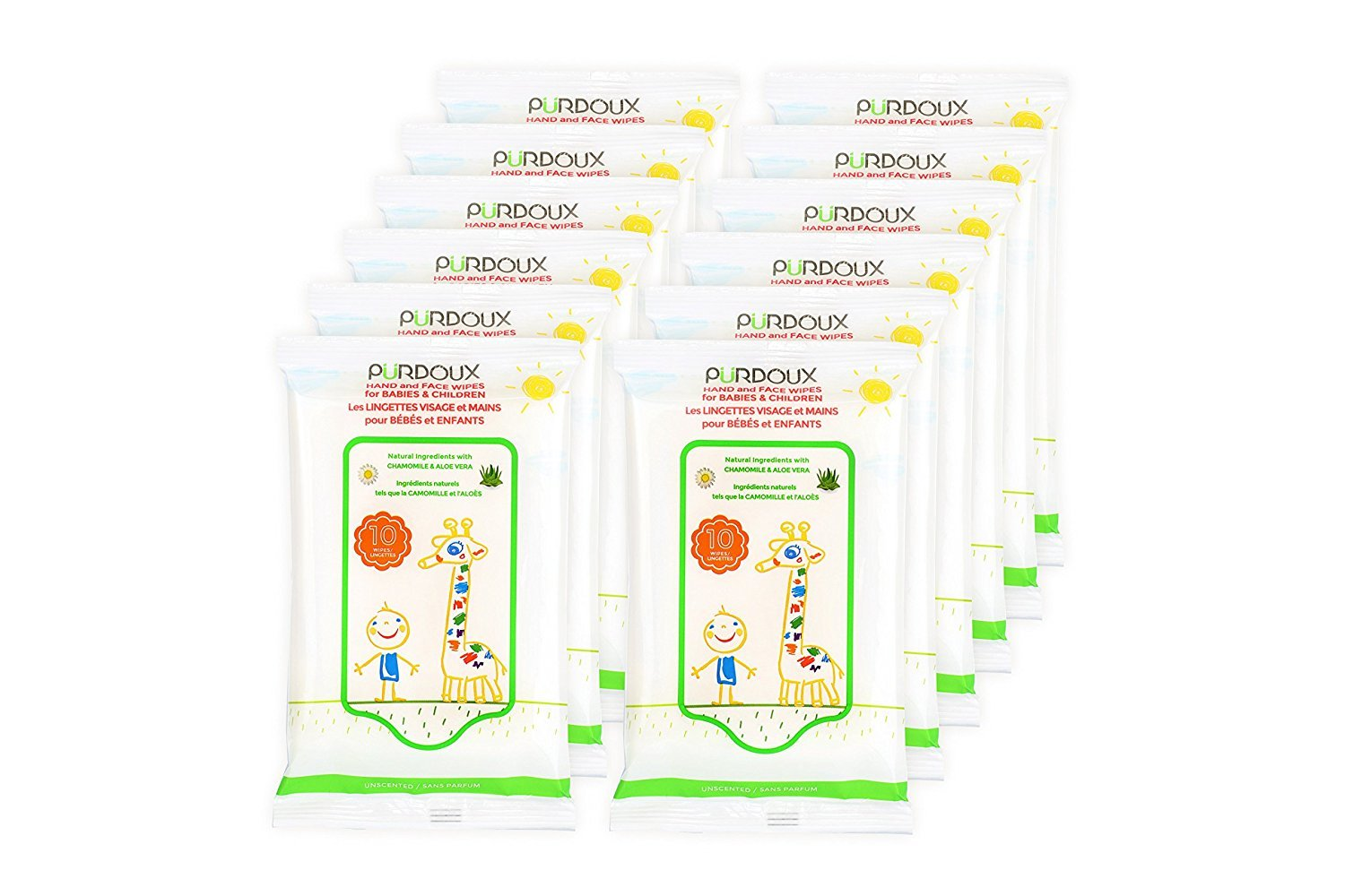 PÜRDOUX™ 100% Cotton Wipes for Babies and Children with Aloe Vera and Chamomile (Box of total 120 wet wipes in 12 resealable sachets, 10 wipes per sachet)