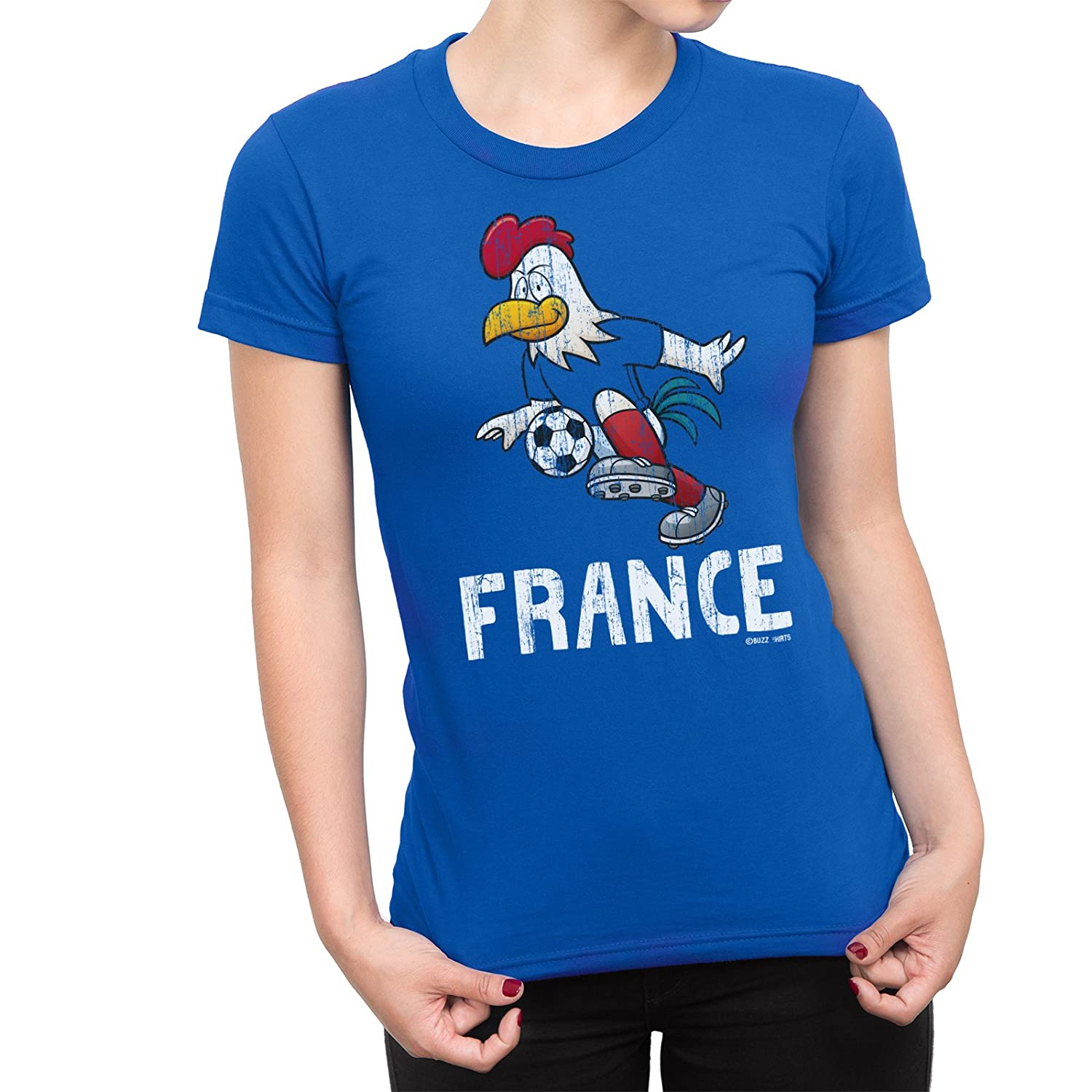 2055e056d Buzz Shirts Womens T-Shirt France Cartoon Cockerel World Cup 2018 Football  Patriotic French  Amazon.co.uk  Clothing