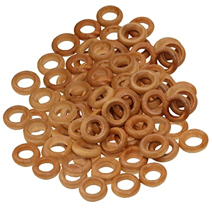 Monkeyjack 100pcs 13mm Small Wooden Rings Unfinished Wood Toss Rings Hoops Diy Crafts