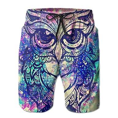 Galaxy Owl Casual Summer Beach Board Shorts Pants Men Teens