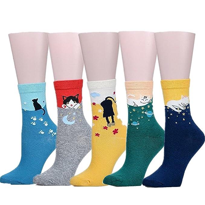 1950s Socks- Women's Bobby Socks 5 Pairs Of Cute Cat Womens Girls Casual Comfortable Cotton Crew Socks $10.99 AT vintagedancer.com