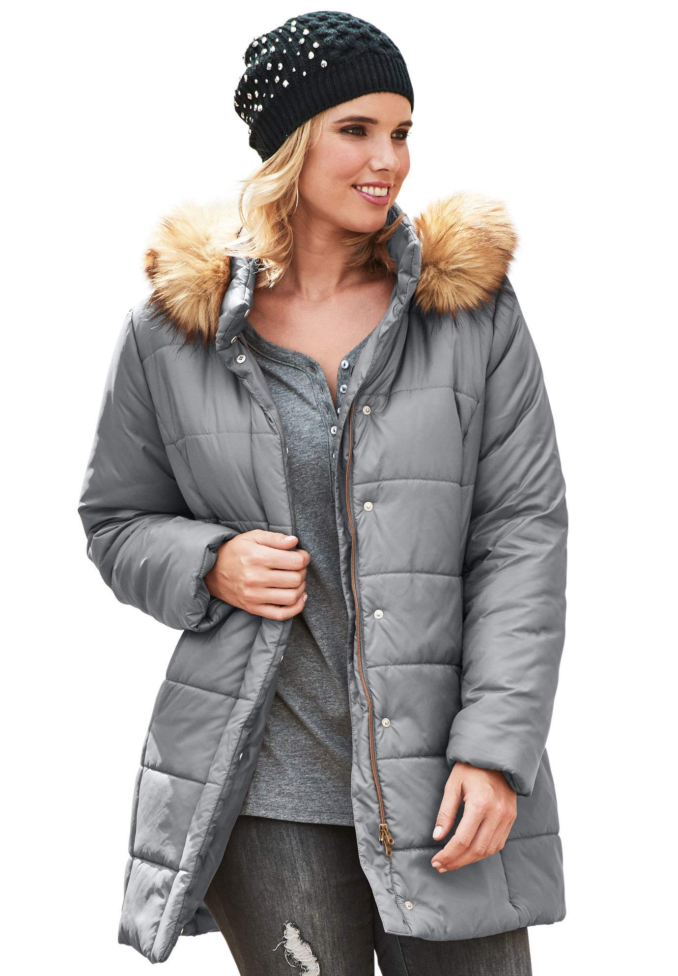 Roamans Women's Plus Size Classic-Length Quilted Parka with Hood - Slate, 4X by Roamans