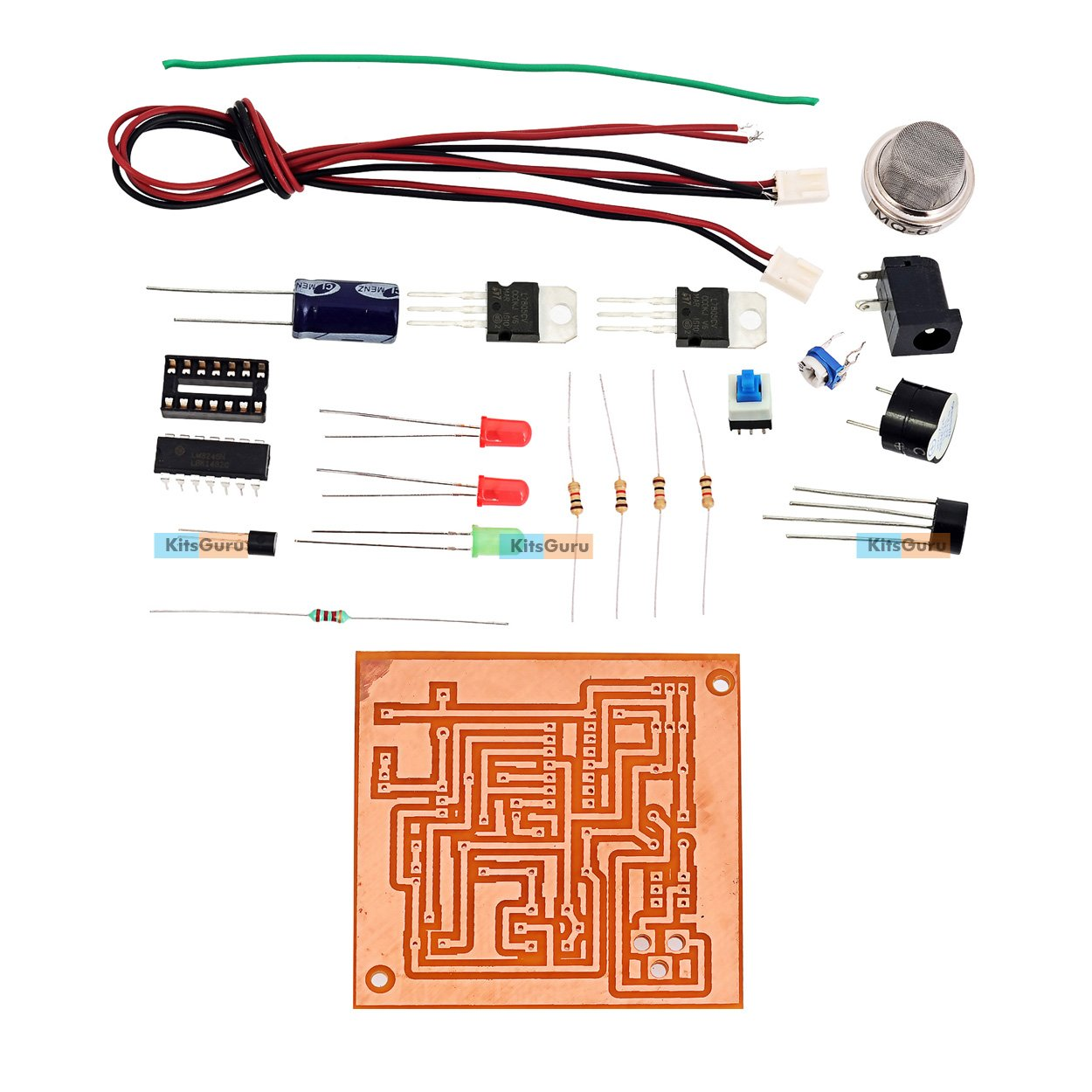 Diy Kit Gas Leakage Detection Alarm Lgkt012 Digital Circuits The Lm324 Quad Comparator Circuit Images Frompo
