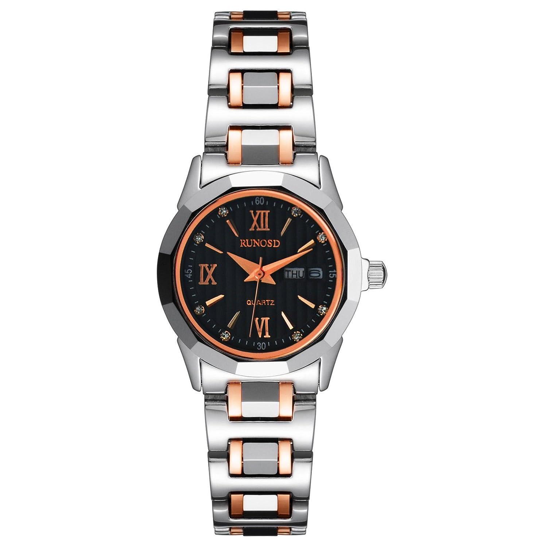 女性のブラックダイヤルサファイアガラスローマ番号日付曜日クォーツローズゴールドシルバー2トーンWrist Watches B00M0SFNFC