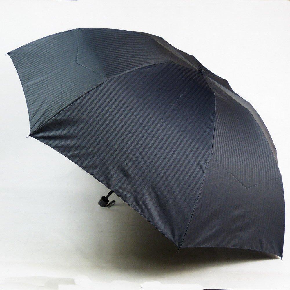 アスティ 傘 メンズ 折りたたみ ミニ 先染 ジャガード織 シャドーストライプ 3段式 大きい 70cm 日本製 15062 B00B8QA96K ブラック(E) ブラック(E)