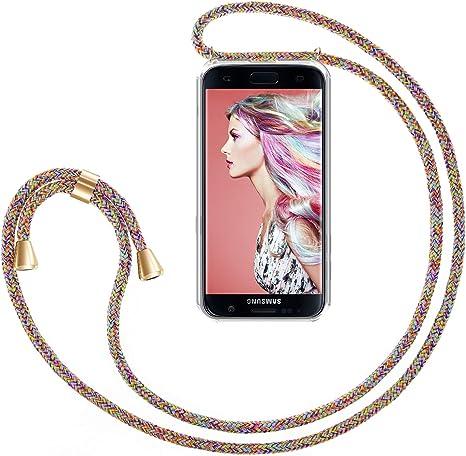 Zhinkarts Cadena para Teléfono Móvil Compatible con Samsung Galaxy S7 Edge - Funda con Collar de Cordón para Smartphone - Carcasa con Correa para Celular para Llevar - Arco Iris: Amazon.es: Electrónica