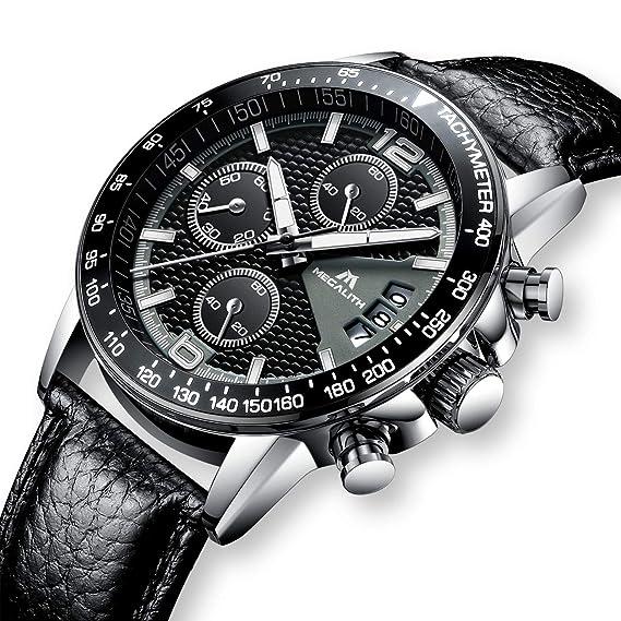 Relojes de Hombre Negro Cuero Relojes Militares Marea Deportivo Impermeable  Lujo Cronometro Fecha Calendario Reloj de Pulsera Moda Vestidos Casuales ... fe9c8cc738ab