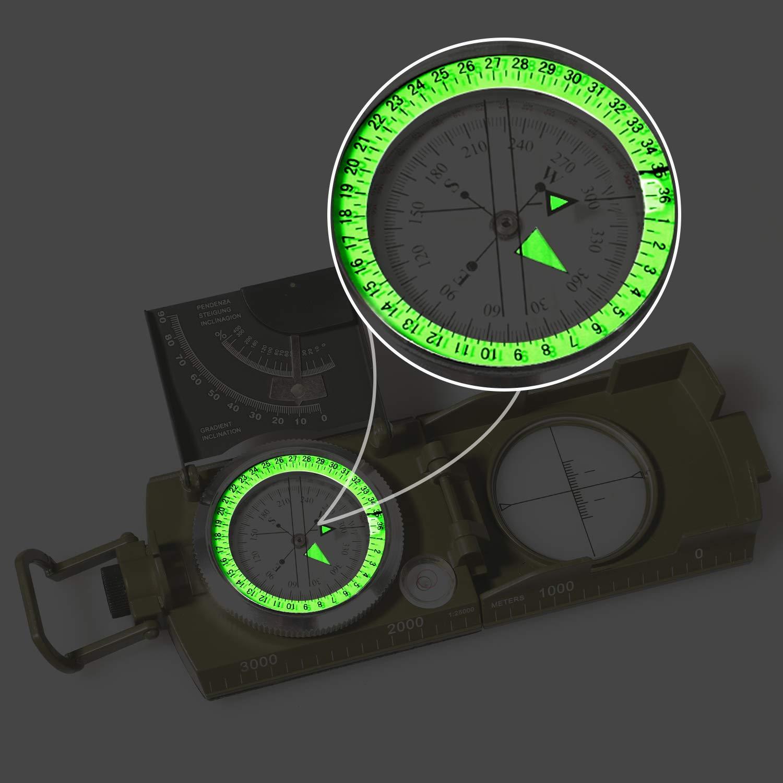 USCAMEL Brújula de navegación Impermeable con Inclinómetro ...
